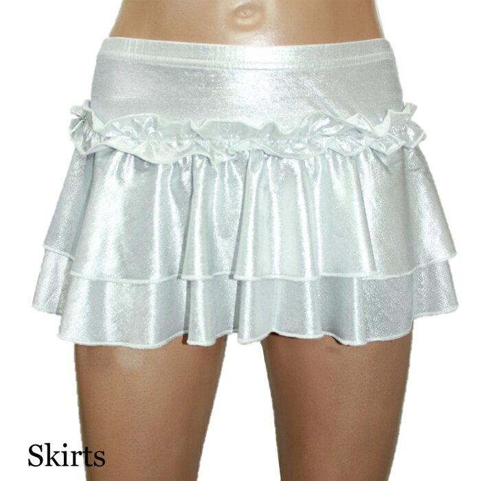 ポイント16倍ダンス衣装2点セットトップススカートメタリックストレッチシルバーライトシルバーフリーサイズ送料無料