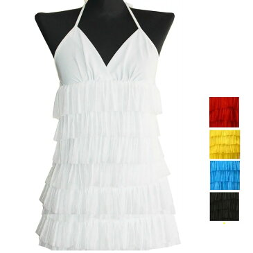 ポイント16倍 ダンス衣装 2点セット トップス スカート レッド イエロー ブルー ホワイト ブラック