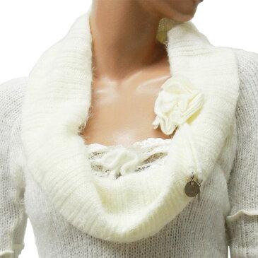 ポイント16倍 セール ニット セーター ラウンドネック モヘア 長袖 花付き ホワイト Mサイズ フランス製