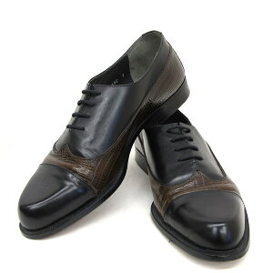 GIANNI VERSACE ジャンニ ヴェルサーチ レザーシューズ ビジネスシューズ ウィングチップ 型押し イタリア製 ブラック ブラウン 紐靴 692 サイズ7 約25.5cm相当 VERO CUOIO 本革 通勤 カジュアル メ