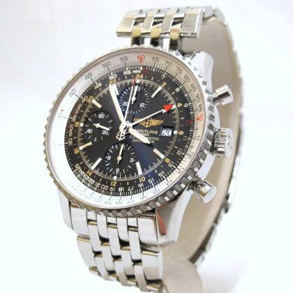 【中古】ブライトリングBREITLING時計腕時計メンズナビタイマーワールド/A242B26NPブラック防水保証書付ブラック日付表示クロノ回転ベゼルGMTメンズ