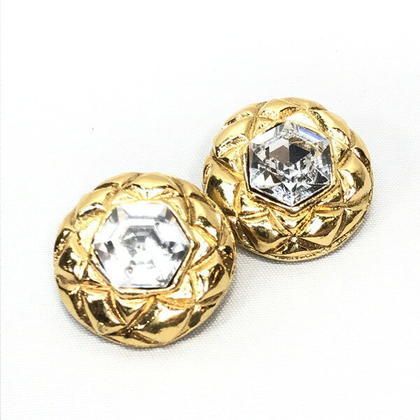 Mikunigaoka shop 902894 RM0031D made in OLD/ earrings / crystal / accessories /CHERCHANEL Chanel vintage gold earrings VINTAGE accessories GP plating gold clear Lady's France