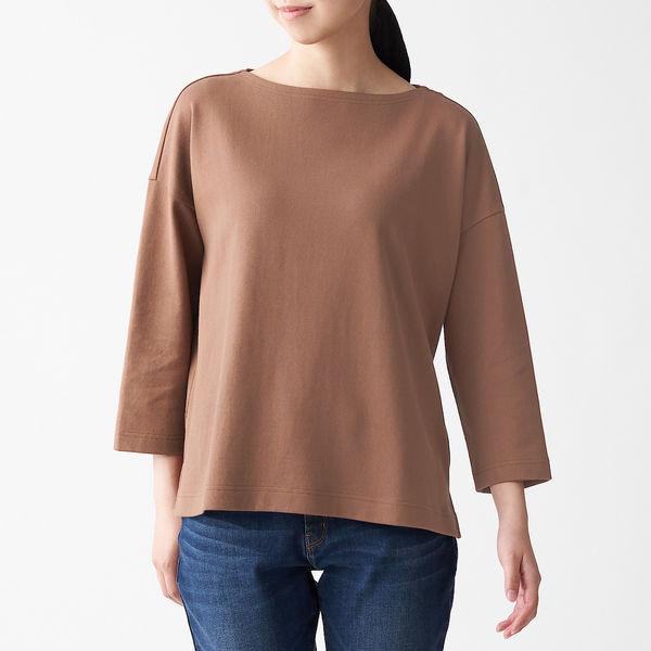 無印良品 太番手天竺編みボートネック七分袖Tシャツ