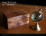 "Paper WT Clock on ""TROPHY ""/ペーパーウエイトクロック トロフィー置き時計 brass clock/ 真鍮 時計【あす楽対応_東海】"