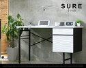 SUREdesk/シュールデスクT-SURE/机書斎パソコンデスクパソコン机ユニットデスクライティングデスク波模様エナメルホワイト