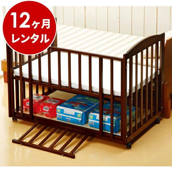 国産ベビーベッド添い寝ツーオープンベッド b-side120(マット別)ダークブラウン【12ヶ月レンタル】