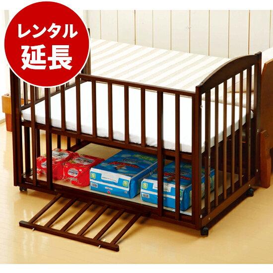国産ベビーベッド添い寝ツーオープンベッド b-side120(マット別)ダークブラウン【レンタル延長】※現在商品をご利用中のお客様が対象です。
