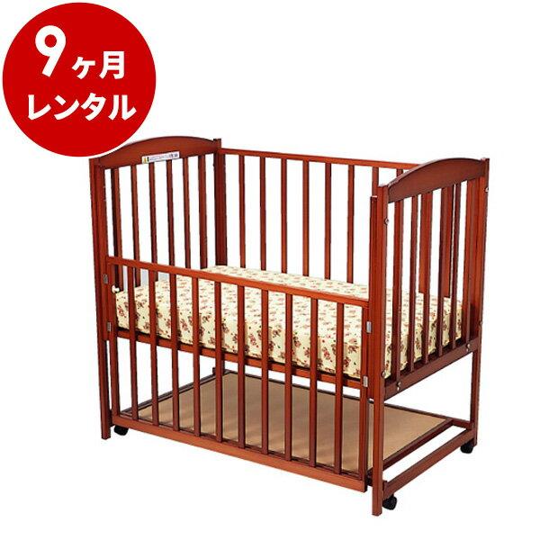 国産木製ベビーベッドすやすやブラウン120(マット別)【9ヶ月レンタル】
