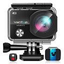 4Kアクションカメラ MOMENT3 ウェアラブルカメラ 2.26インチ[LCD 1600万画素 WIFI搭載 170度 広角レンズ 30M 防水 スポーツカメラ HDMI出力 リモコン 32GB microSD 日本語仕様書 VANTOP]