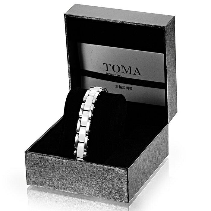 TOMA 10M・10F 男性or女性 白セラミックス 磁気ブレスレット シルバー:日王株式会社