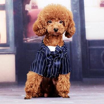 ペット用 ストライプ 犬の服 ネコの服 ペット 正装 服 ボーダー 蝶ネクタイ シャツ かわいい コスプレ ハロウィン お出かけ いぬ イヌ 猫 ねこ フォーマル パーティー ネイビー かっこいい カワイイ 可愛い おしゃれ オシャレ 人気