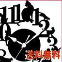 【送料無料】レビューお約束!A166【★★★ネコいっぱい掛時計 (ブラック)】 Abeille WALL ...