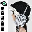 風 KAZEオーダー品114-o 黒に白黒ファー耳あて♪ INKO YOSHIDAブラ...