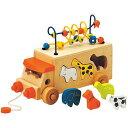 車のおもちゃ 積み木 ブロック 形合わせ エドインター アニマルビーズバス 木のおもちゃ 型はめ 赤ちゃん ベビー 誕生日プレゼント 男の子 男 女の子 女 3歳 4歳 木製 車 子供 キッズ オモチャ ギフト|ベビーオモチャ 出産祝い 幼児 ビーズコースター プルトイ パズル 引き車