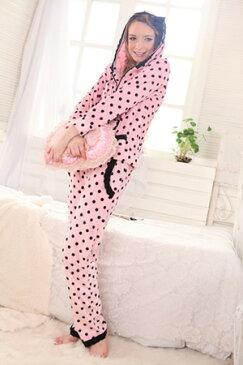 【送料無料】ピンクに黒ドットがベリーキュート♪ルームウェア☆部屋着☆パジャマ【トップス+ロングパンツ】2点セット