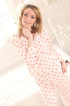 【送料無料】ピンクのドットがベリーキュート♪ルームウェア☆部屋着☆パジャマ【トップス+ロングパンツ】2点セット