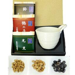高級納豆ギフト 二代目福治郎 納豆鉢付ギフト【梅】 納豆3種と納豆鉢