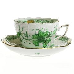 ──ヴィクトリア女王は優雅に暮らしたい。ヘレンド (HEREND) FV インドの華グリーン兼用カップ...