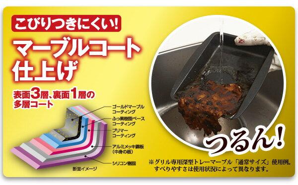 グリル専用深型トレーミニ 2個組 グリル用トレイ マーブルコーティング深型トレー グリル料理が2種同時に作れる ミニトレー 調理トレー オーブントースターOK