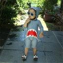 送料無料 水着 女の子 男の子 キッズ 子供服 サメ柄 サロペット 長袖 ロンパース 帽子付き オールインワンプール ビーチ 夏 海水浴 練習用 ベビー 3