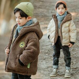 リバーシブルダウンジャケット男の子コート ダウンコート ボアブルゾン 100-160CM 暖か  キッズ 誕生日 外遊び お出かけ 可愛い 子供用 厚手 防寒 ジャケット