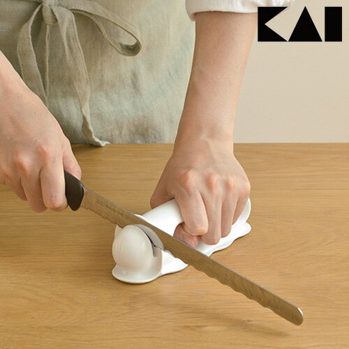 波刃のパン切り包丁 普通の包丁 どっちも研げる 包丁研ぎ 波刃が研げるシャープナー A63 パン切りナイフ ウェーブカット シャープナー 貝印 kai 日本製