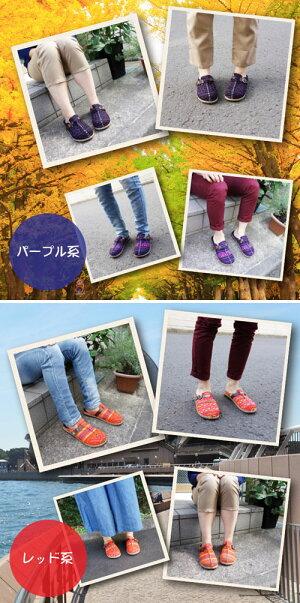 モン族サボ−着用1[サンダルサボカジュアルシューズレディースメンズサンダルヒール靴ファッションアジアンエスニックサンダルサボサンダル