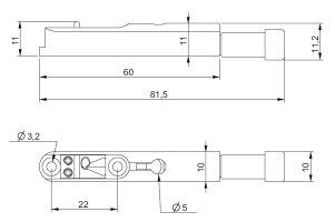 ABM/ABM3801Cヘッドレスギター用チューナー付シングルブリッジクローム