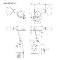 Gotoh軸高調整機構付ペグSGS510H.A.P.XクロムB07ツマミ