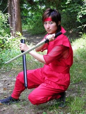 忍者衣装・夏Version メッシュTシャツ付(赤)ninja wear