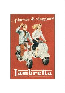 【メール便不可】 イタリア・ランブレッタ社のヴィンテージ広告をポスターに[【ISTITUTO FOTOCR...