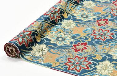 日本製帯地三丁サビ青色72cm巾【生地布】