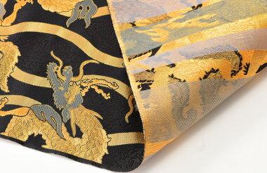 日本製帯地洛レイ胴入2号龍立涌黒/金色72cm巾【生地布】