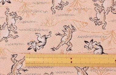 日本製帯地洛レイ鳥獣戯画ピンク色72cm巾【生地布】