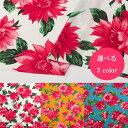 日暮里 生地と衣裳の奥山で買える「スムース花柄プリント【ポリエステル 112cm巾 生地 布 花柄】」の画像です。価格は120円になります。