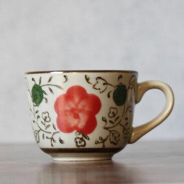 エスプレッソカップ 小さい おしゃれ (65ml 赤い桃の花)【コーヒー 和食器 花柄 コップ 陶磁器 丈夫 レンジOK 食洗器対応 アウトレット 訳あり】
