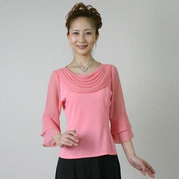 コーラスブラウス コーラス衣装 合唱衣装(9号〜15号)ピンク シフォンドレープブラウス