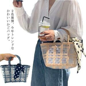 かごバッグ トート バスケット レディース ランチバッグ スカーフ付き 格子縞 透明 A4 大きめ かわいい おしゃれ ナチュラル 大容量 シンプル 軽量 春 夏 送料無料