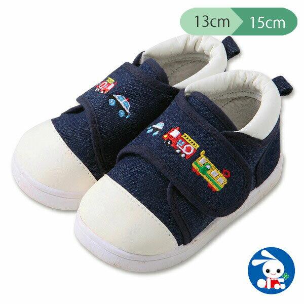 デニムベビーシューズのりもの 13cm・14cm・15cm  靴くつシューズスニーカーベビー赤ちゃん子供子どもこどもキッズベビー