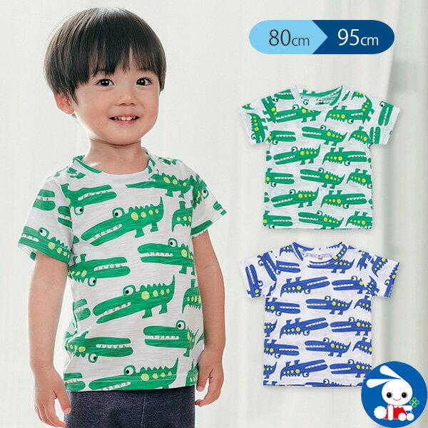 吸水速乾 スラブワニ総柄半袖Tシャツ 80cm・90cm・95cm  男の子半袖tシャツtシャツ西松屋ベビー服赤ちゃん服赤ちゃ