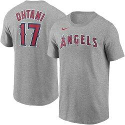 在庫あり出荷可能MLB公式大谷翔平グッズ大谷17エンジェルス大谷翔平ネーム&ナンバーTシャツエンゼルス(グレー)USサイズ:M