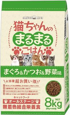 キャットフード ドライフード 大容量 多頭 猫ちゃんのまるまるごはんまぐろ&かつお&野菜味 8kg
