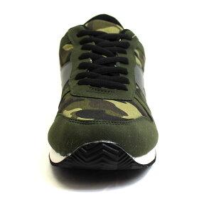 メンズシューズランニングスニーカーグリーンカモカモフラージュスエード調PUレザー靴シューズbr7371-greenあす楽対応【RCP】【はこぽす対応商品】