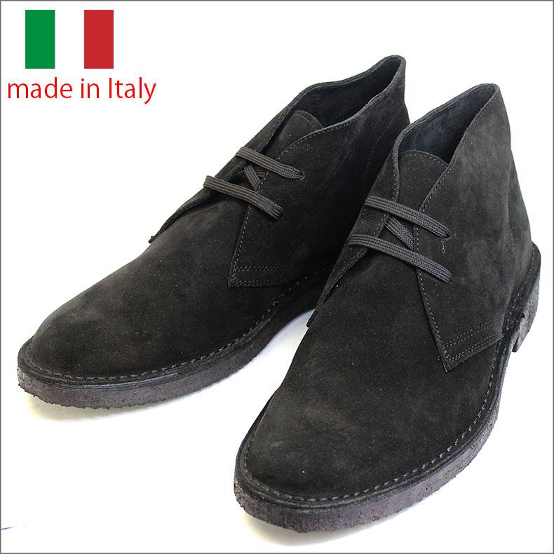 革靴 メンズ シューズ イタリア製 スエード レザー レースアップ デザート チャッカ ブーツ ブラック 紳士靴 本革 m101ca-nero 2021 彼氏 男性向け画像