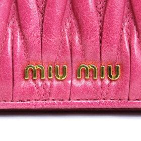 ミュウミュウ名刺入れMIUMIUmiumiuキーリング付カードケースレザーピンクレディースアウトレット5mc407-malu-peonia