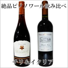 厳選チリ イタリア ピノノワール2本飲み比べセット【2本セット ワイン】