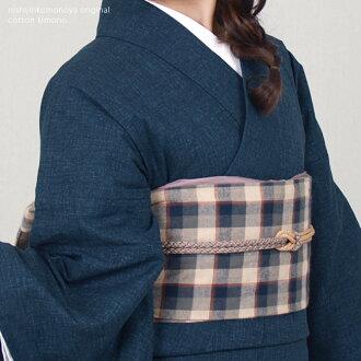 Original ripsaw's Nishijin and even washable cotton cotton kimono-s size-one size fits all cotton kimono ★ tsumugi (smug tone) - dark blue, Navy, blue, plain / 06-denim style-cotton kimono -