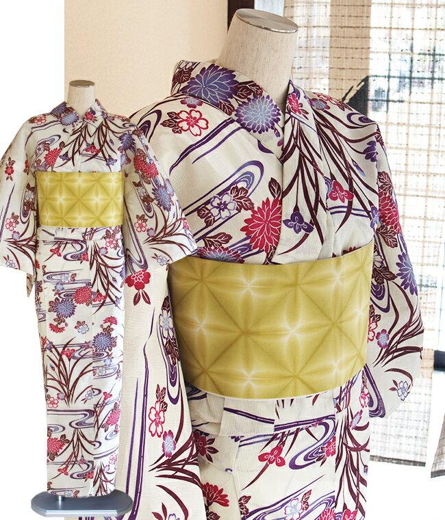 綿麻-女性浴衣-綿麻モダンな紅型・菊・さくら・アヤメ-アイボリー/紫/ローズ/赤紫/小豆色フリーサイズ・単品浴衣・女性ゆかた
