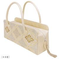 【送料無料】【日本製】利休バッグ- 和装バックお茶席バッグ・ボストンバッグ/横長タイプ-織り柄/白金、アイボリー、金、七宝柄-フォーマルな装いに・訪問着・色留袖・色無地