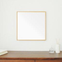 細枠正方形ウォールミラー幅42cm (ナチュラル) 天然木/鏡/スリム/高級感/木製/飛散防止加工/壁掛け/オシャレ/北欧風/日本製/完成品/NK-9